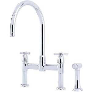 Perrin & Rowe Io Crosshead 2 Hole Sink Mixer & Rinse Chrome