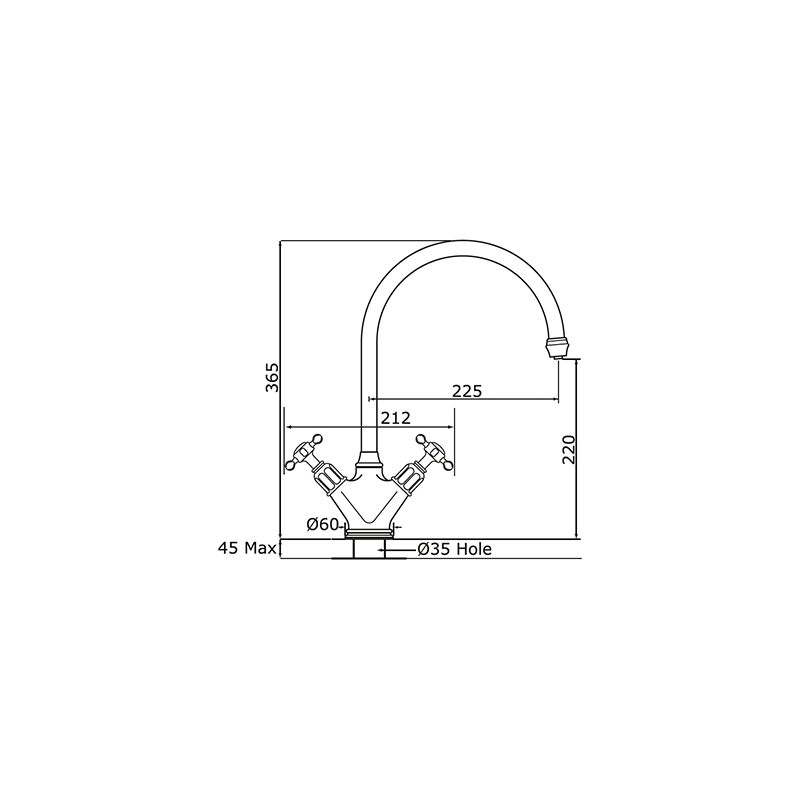 Perrin & Rowe Minoan Mono Sink Mixer Tap Chrome