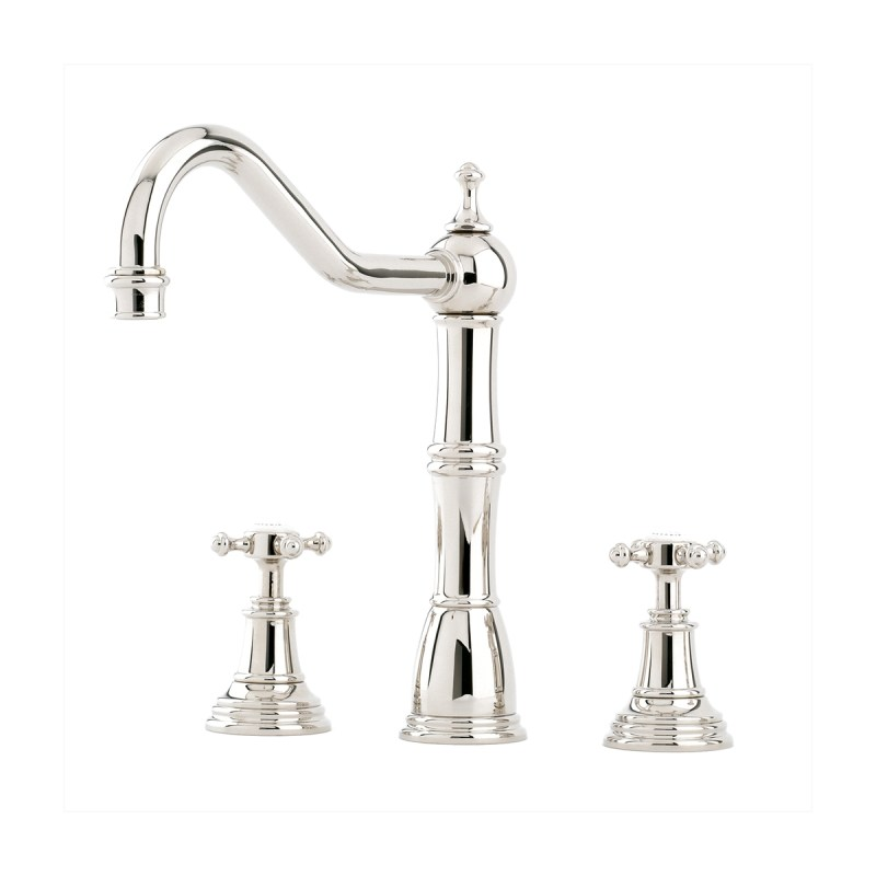 Perrin & Rowe Alsace Sink Mixer, Crosstop Handles, Bronze