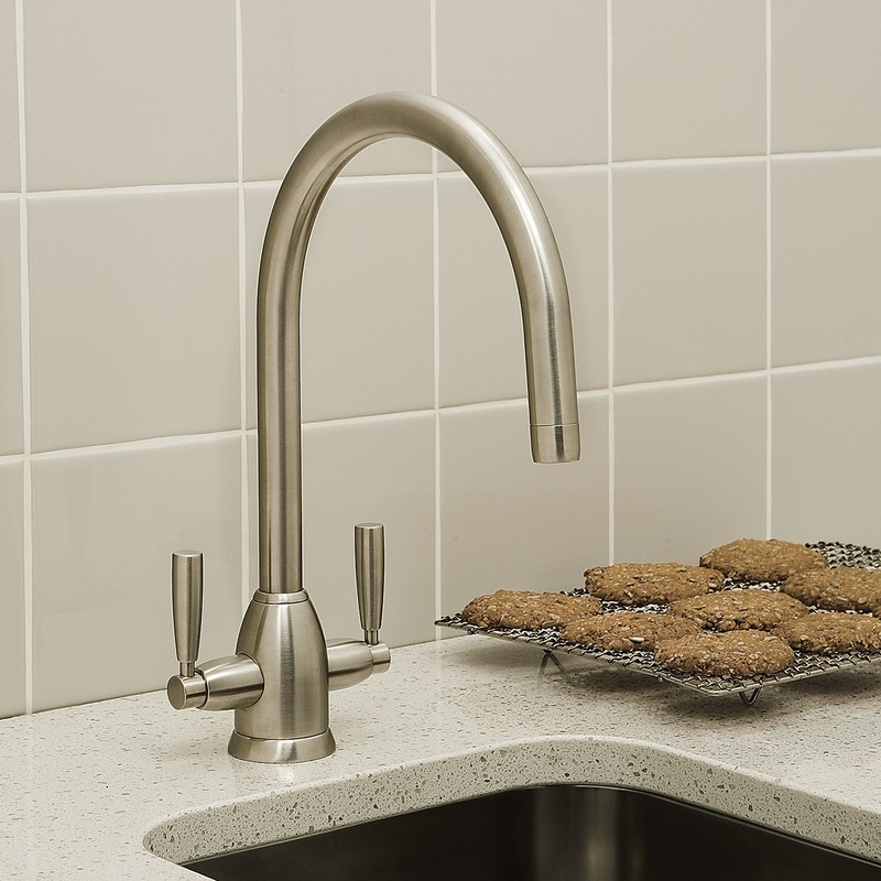 Perrin & Rowe Oberon Sink Mixer with C Spout Pewter