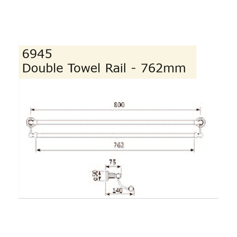 Perrin & Rowe 762mm Double Towel Rail Pewter