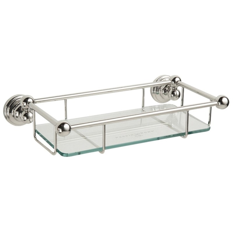 """Perrin & Rowe 10"""" Glass Shelf Gold"""
