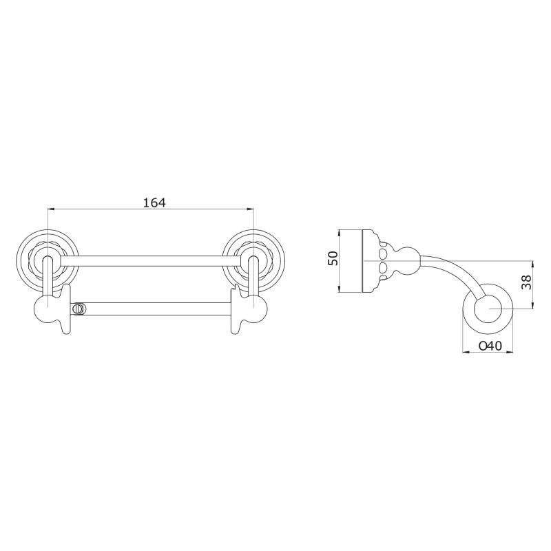 Perrin & Rowe Pivot Bar Toilet Roll Holder Pewter