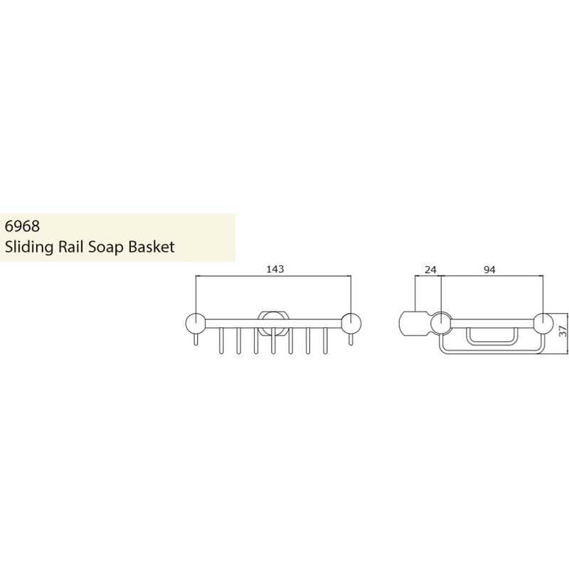 Perrin & Rowe Sliding Rail Soap Basket Pewter
