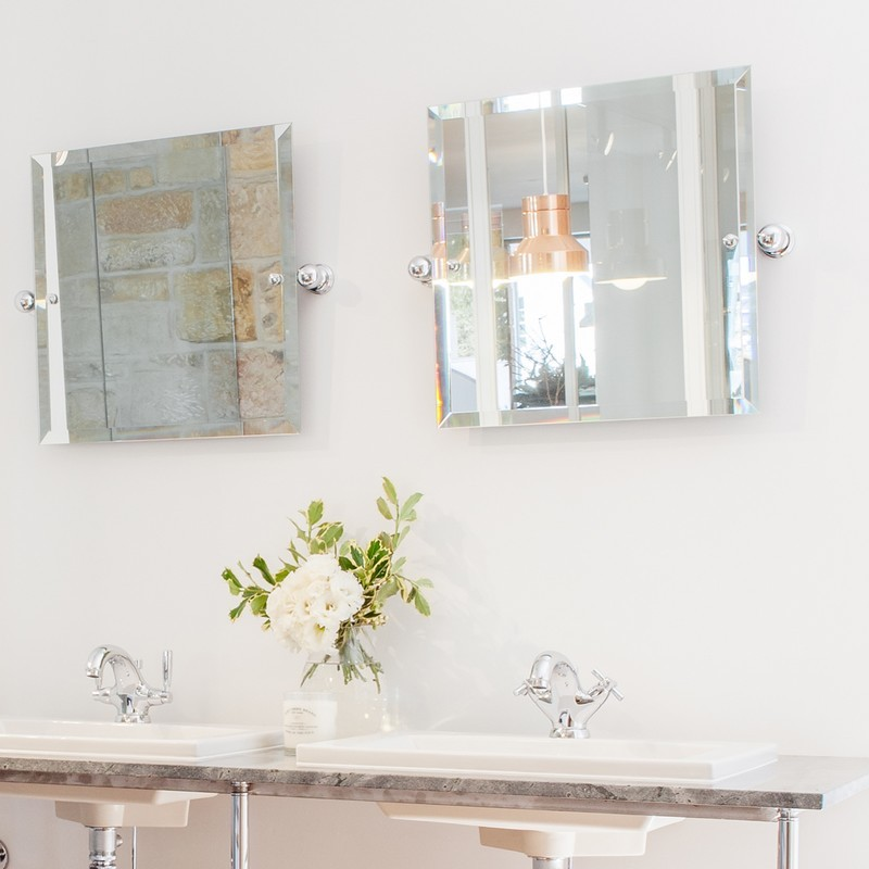 Perrin & Rowe Square Mirror 500mm x 500mm Pewter