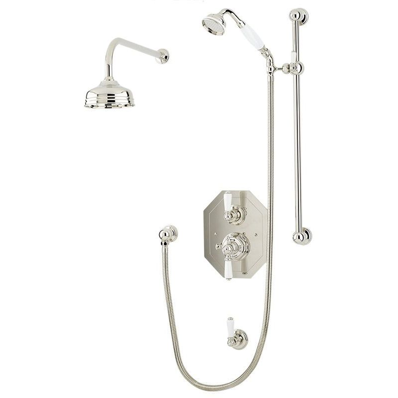 """Perrin & Rowe Traditional Shower Set 2 with 8"""" Rose"""