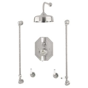 """Perrin & Rowe Traditional Shower Set 5 with 8"""" Rose"""
