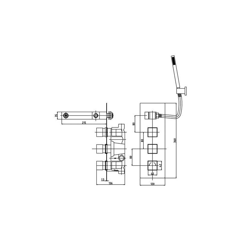 Premier Volt Twin Thermostatic Shower Valve with Diverter