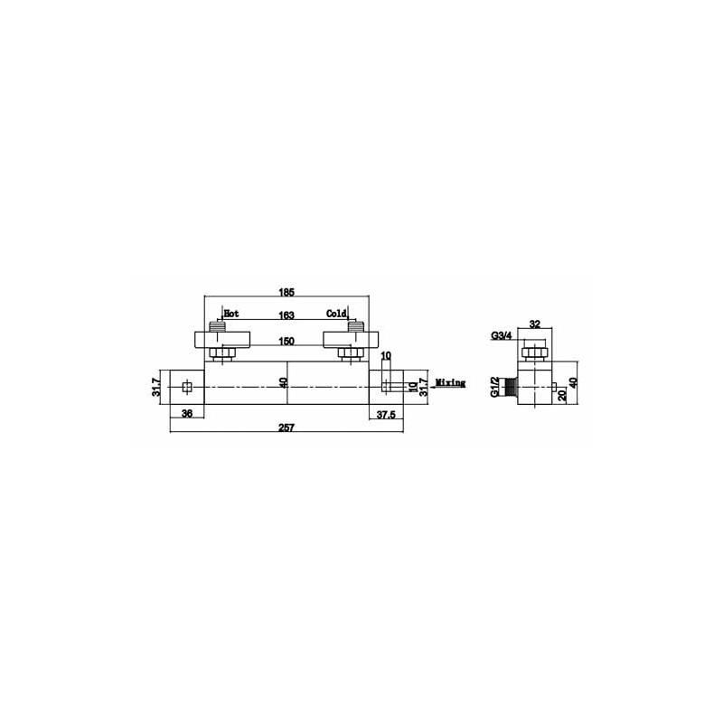 Premier Thermostatic Bar Valve Bottom Outlet