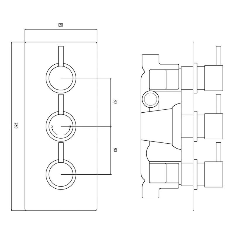 Premier Quest Triple Thermostatic Shower Valve with Diverter