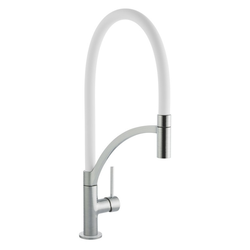 Prima+ Swan Neck Single Lever Mixer Tap with Pull Out White