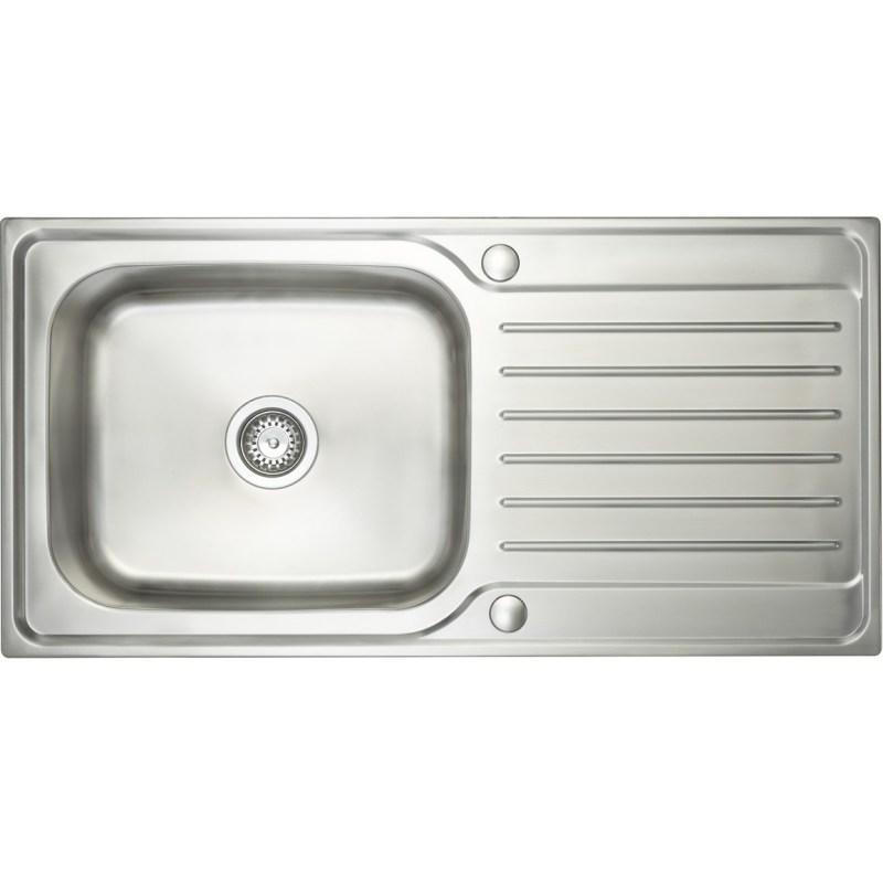 Prima Deep 1B & Drainer Inset Sink Polished Steel