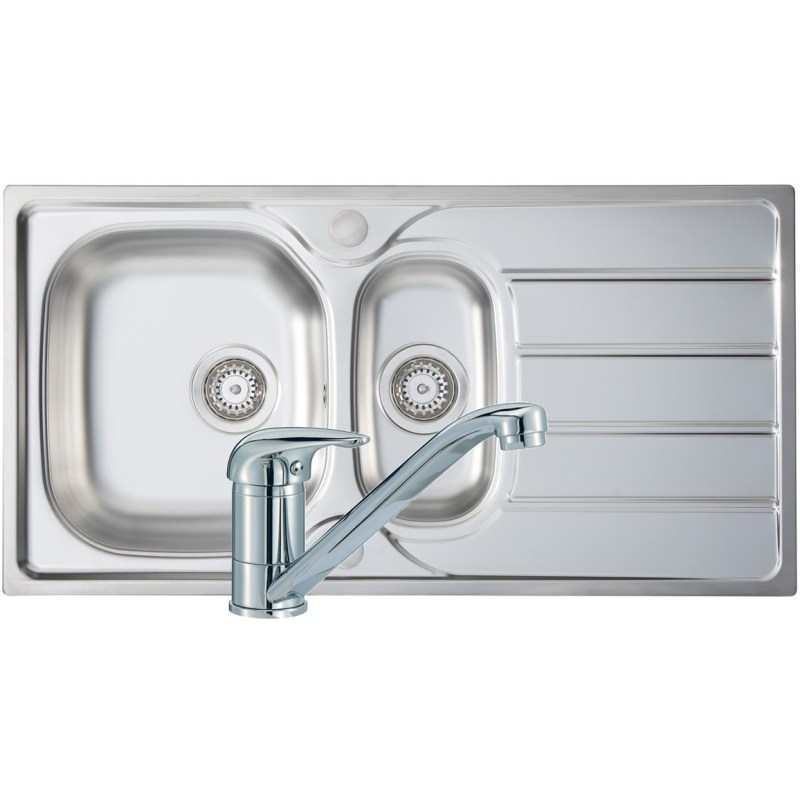 Prima 1.5B 965x500mm Stainless Steel Sink & Single Lever Tap Pack
