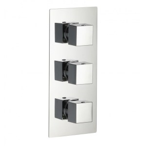 Pura Bloque2 Twin Outlet Three Handle Concealed Shower Valve
