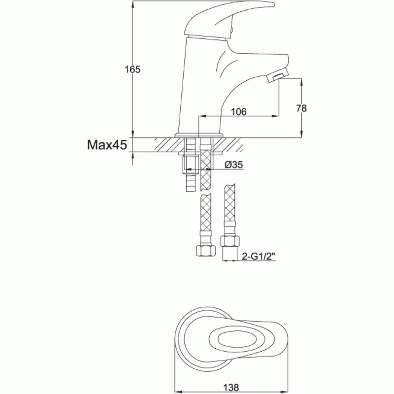 Pura Dv8 Single Lever Basin Mixer