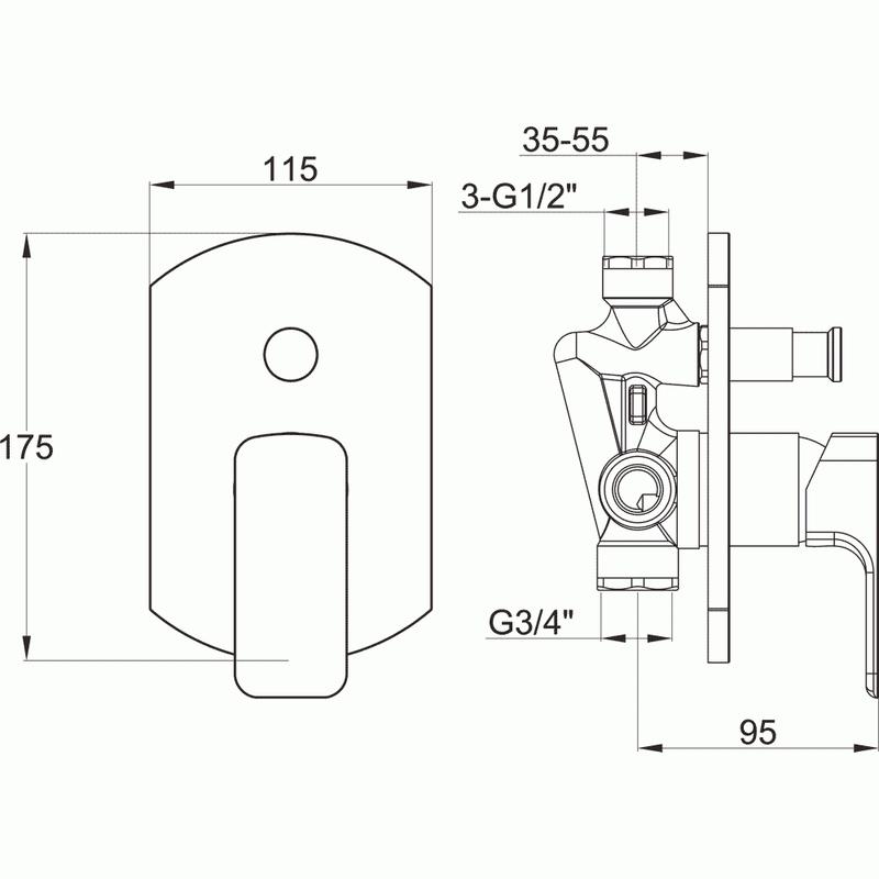 Pura Flite Manual Concealed Shower Valve & Diverter