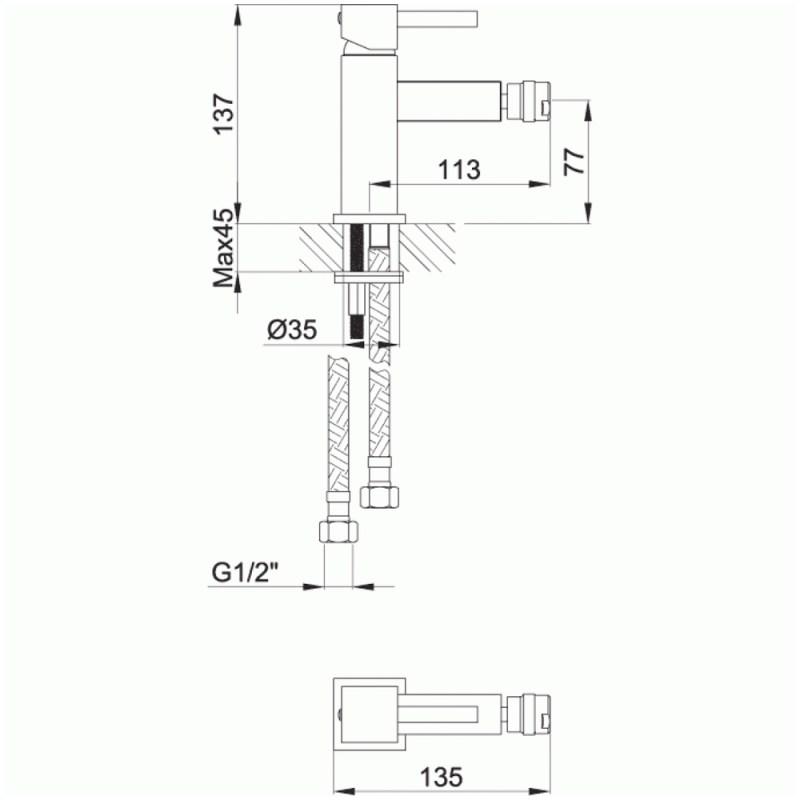 Pura Sq2 Single Lever Bidet Mixer Tap