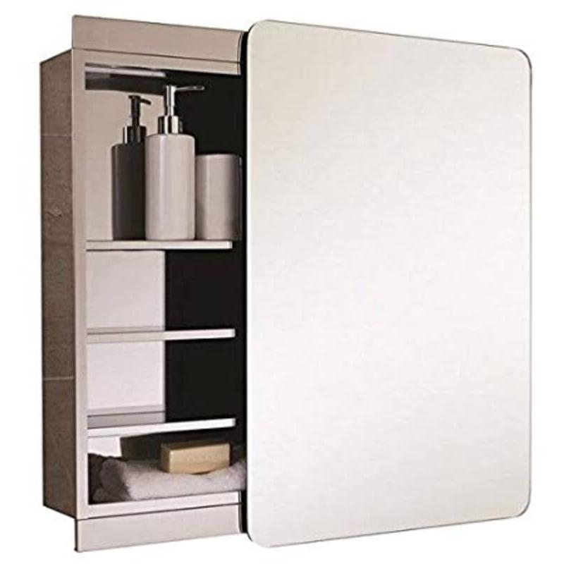 RAK Slide Stainless Steel Single Cabinet with Sliding Mirrored Door