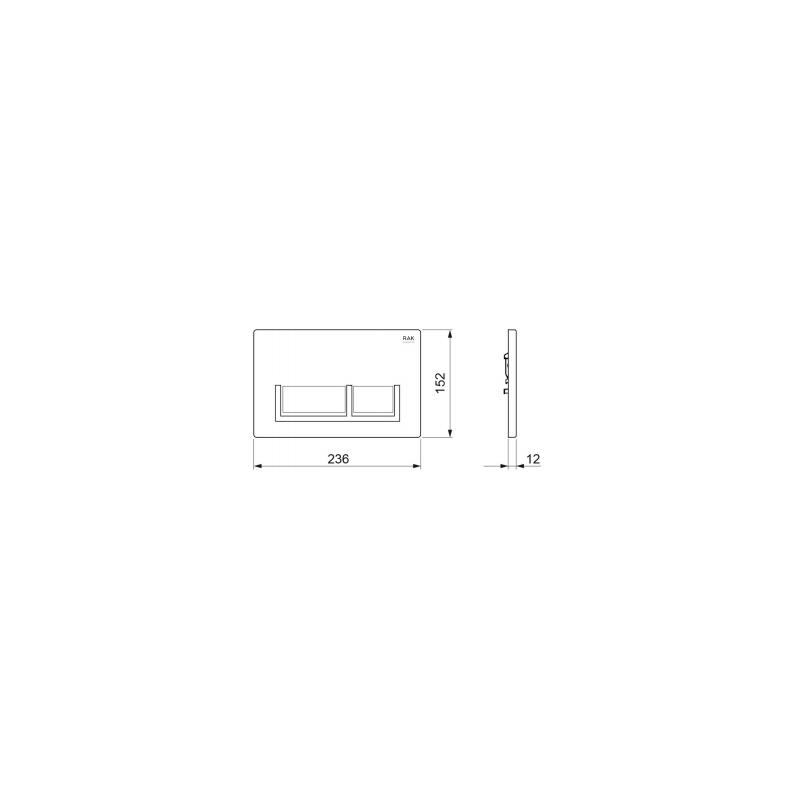 RAK Polished Chrome Flush Plate with Matt Chrome Rectangular Buttons