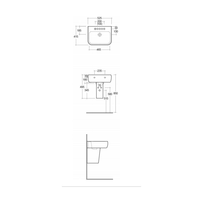 RAK Metropolitan Half Pedestal for 52cm Basin