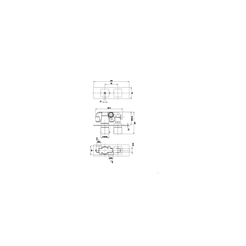 RAK Feeling Square Single Outlet Thermostatic Shower Valve Black