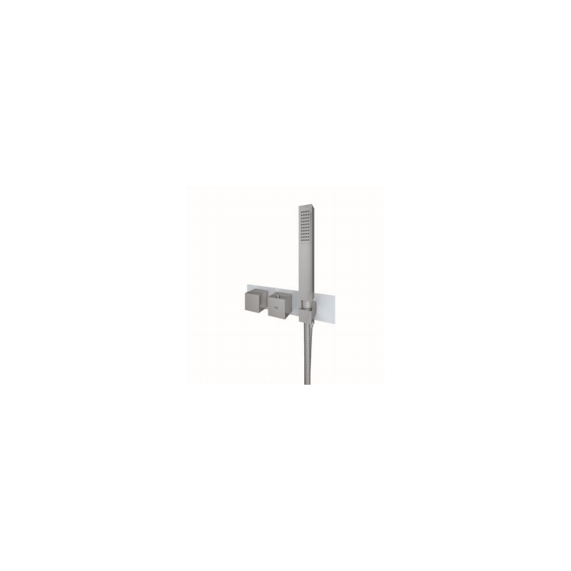 RAK Feeling Square Horizontal Dual Outlet Valve with Wall Outlet Grey