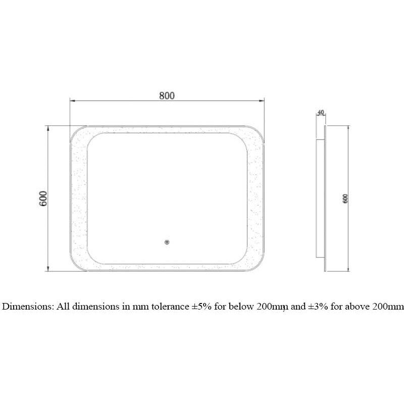 RAK Moon 600x800mm LED Mirror with On/Off Switch & Demister