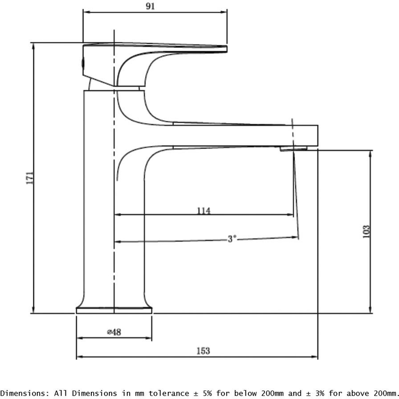 RAK Portofino Standard Basin Mixer Matt Black