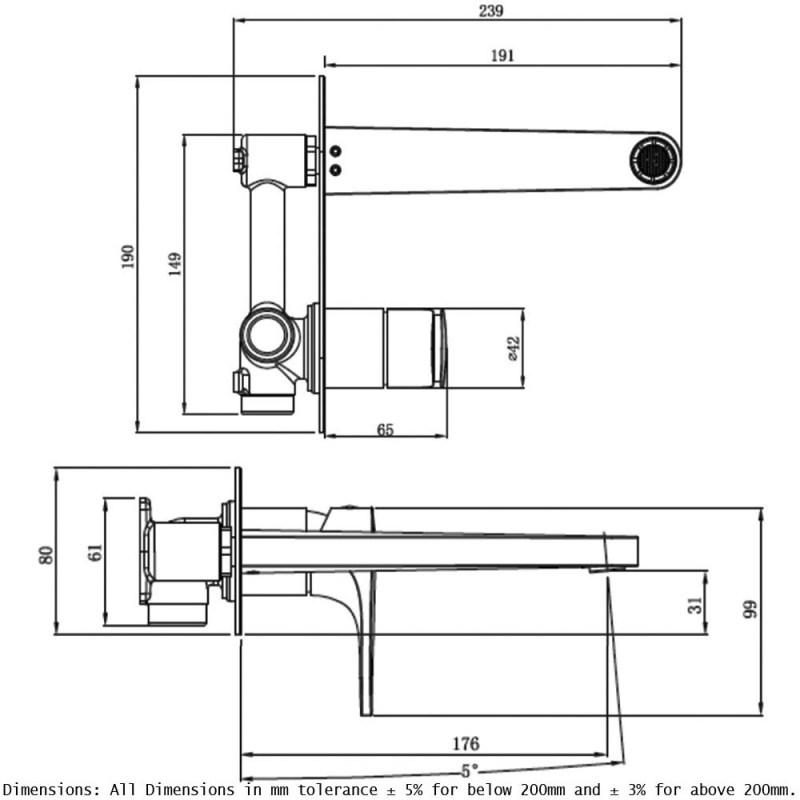 RAK Portofino Wall Basin Mixer with Back Plate Chrome