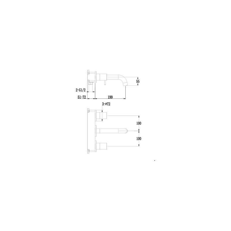 RAK Prima Tech 3 Hole Wall Mounted Basin Mixer