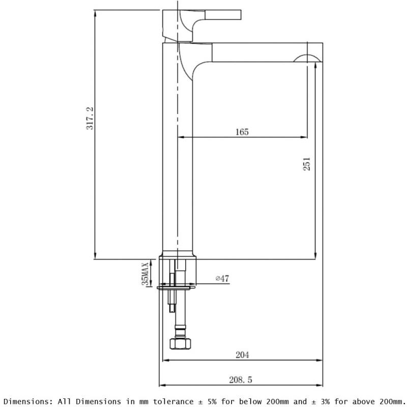 RAK Sorrento Tall Basin Mixer Chrome