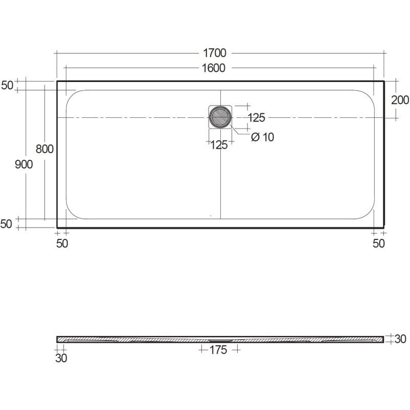 RAK Feeling 1700x900mm Shower Tray Greige