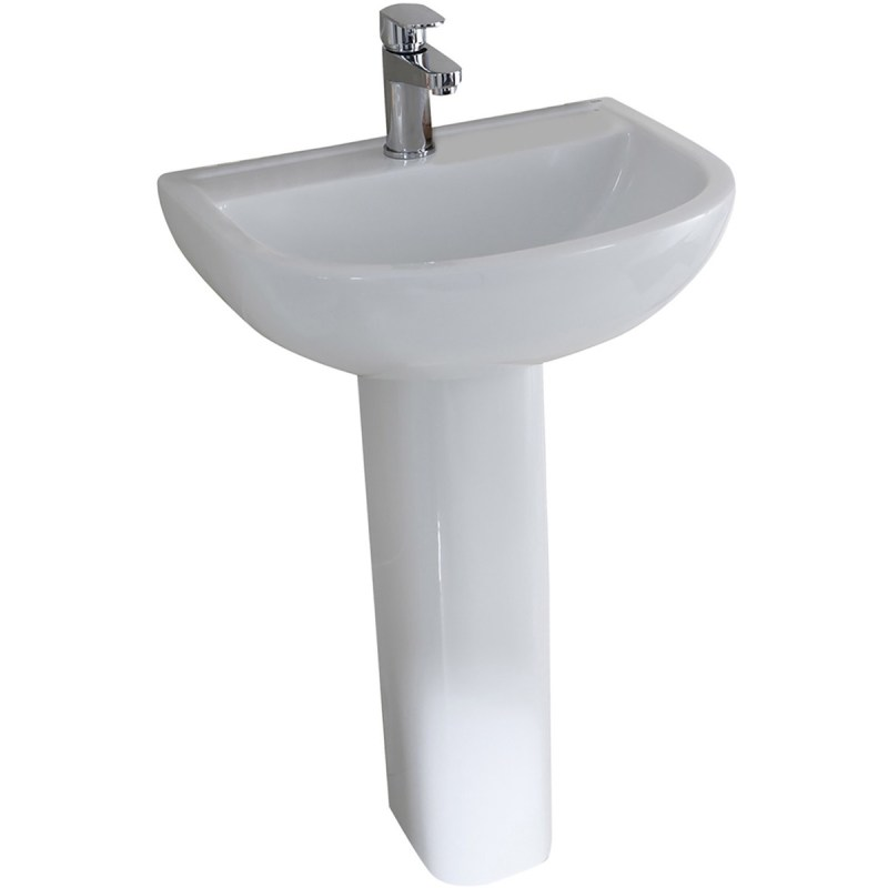 RAK Compact 1 Tap Hole 550mm Basin with Full Pedestal