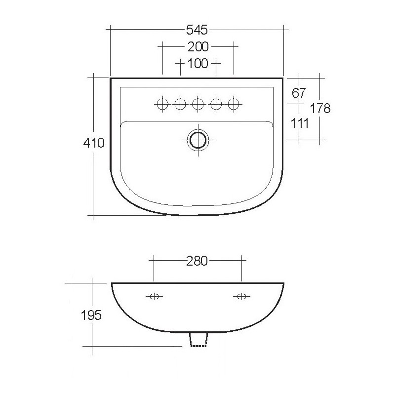 RAK Compact 2 Hole 550mm Basin with Full Pedestal