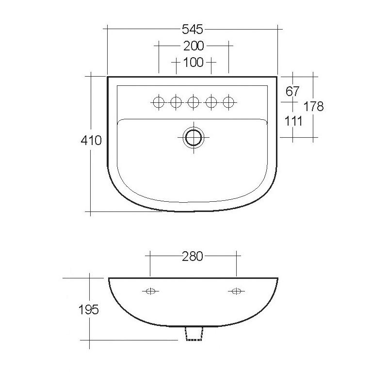 RAK Compact 550mm Basin 2 Tap Hole