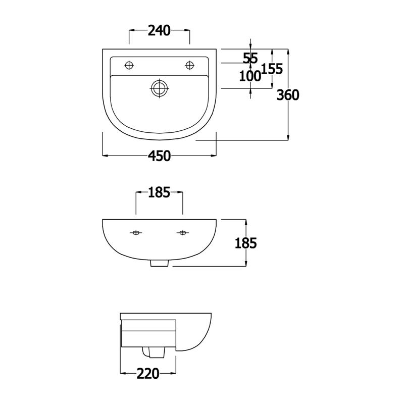 RAK Compact 450mm Semi-Recess Basin 1 Tap Hole LH