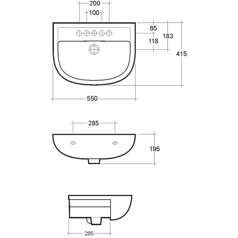 RAK Compact 550mm Semi-Recess Basin 1 Tap Hole