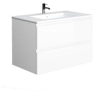 RAK Joy Pure White 810mm Wall Hung Vanity Unit & Basin