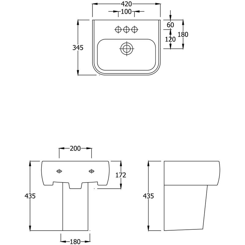 RAK Metro Semi Pedestal for 420mm Basin Only