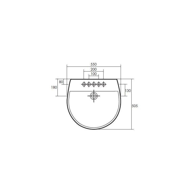 RAK Reserva 550mm 1 Tap Hole Basin & Semi Pedestal