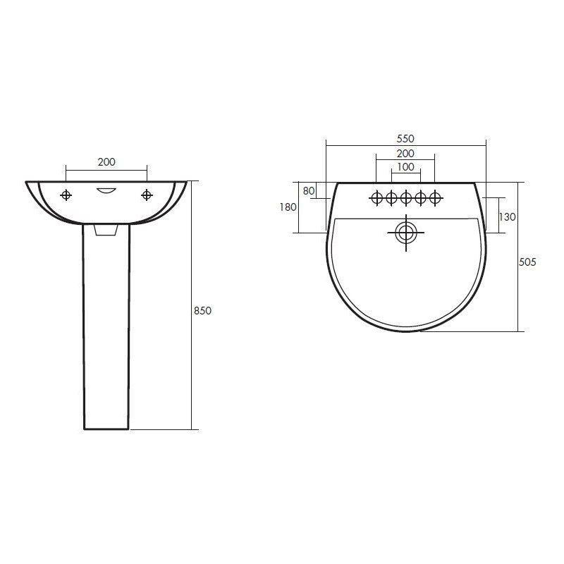RAK Reserva 550mm 1 Tap Hole Basin & Full Pedestal
