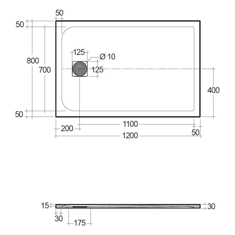 RAK Feeling 1200x800mm Shower Tray Greige