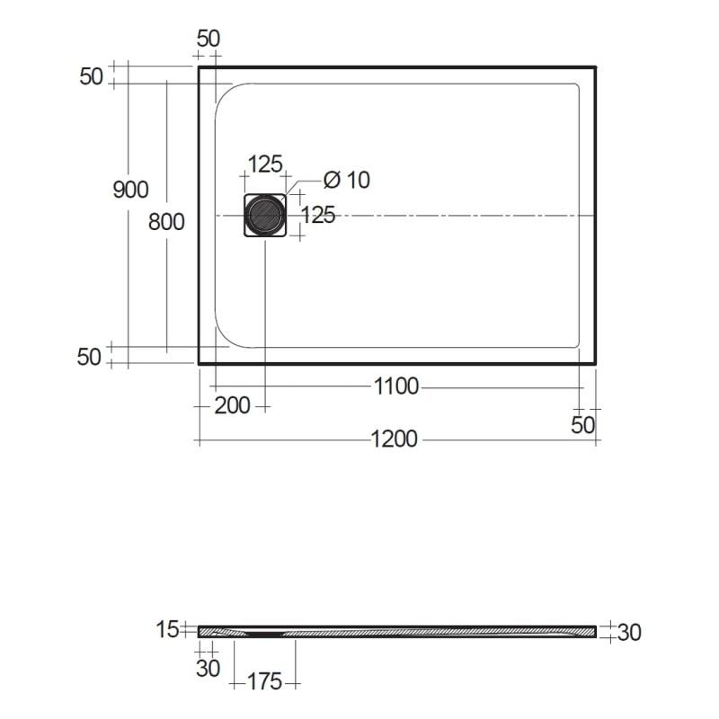 RAK Feeling 1200x900mm Shower Tray Greige