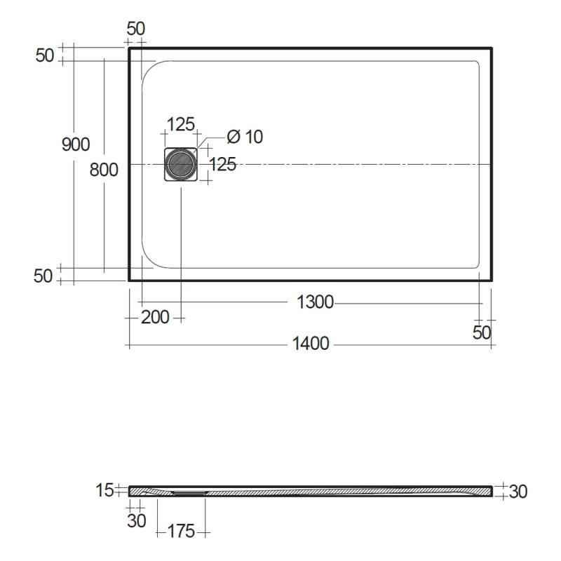 RAK Feeling 1400x900mm Shower Tray Grey