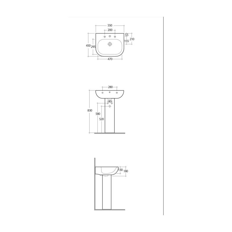 RAK Tonique Pedestal for 55cm Basin
