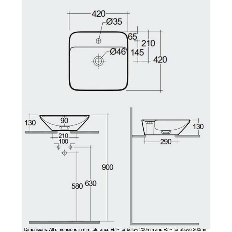 RAK Variant Square Counter Top Basin 42cm 1 Tap Hole