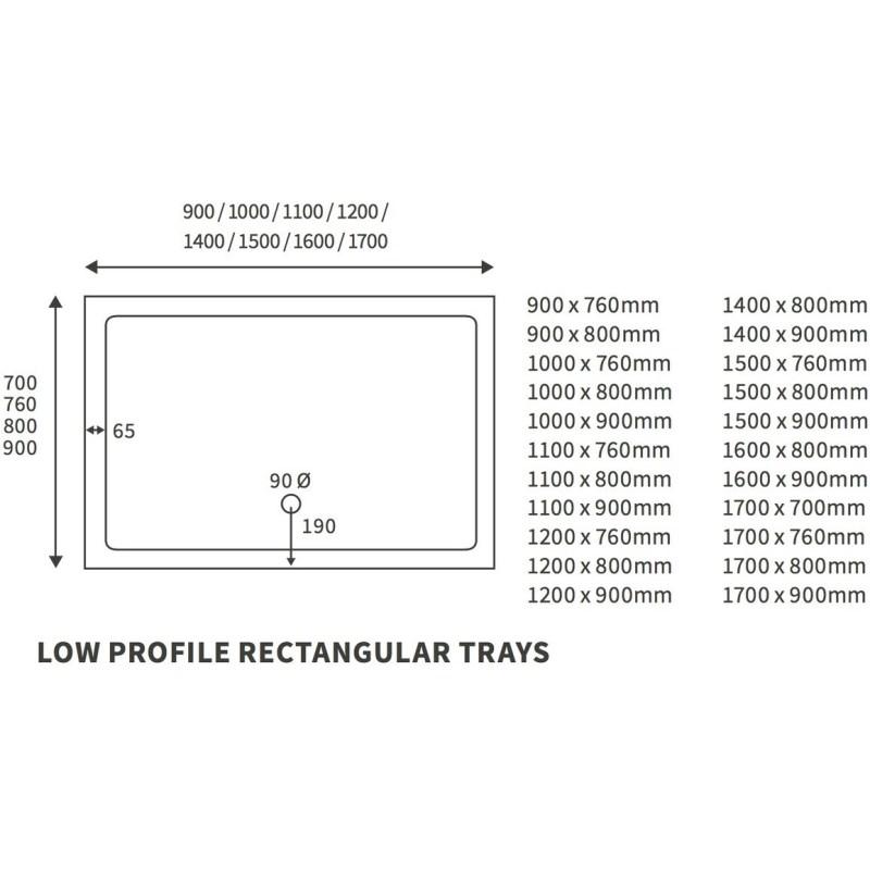 RefleXion 40mm Low Profile 1000x800mm Rectangular Tray & Waste