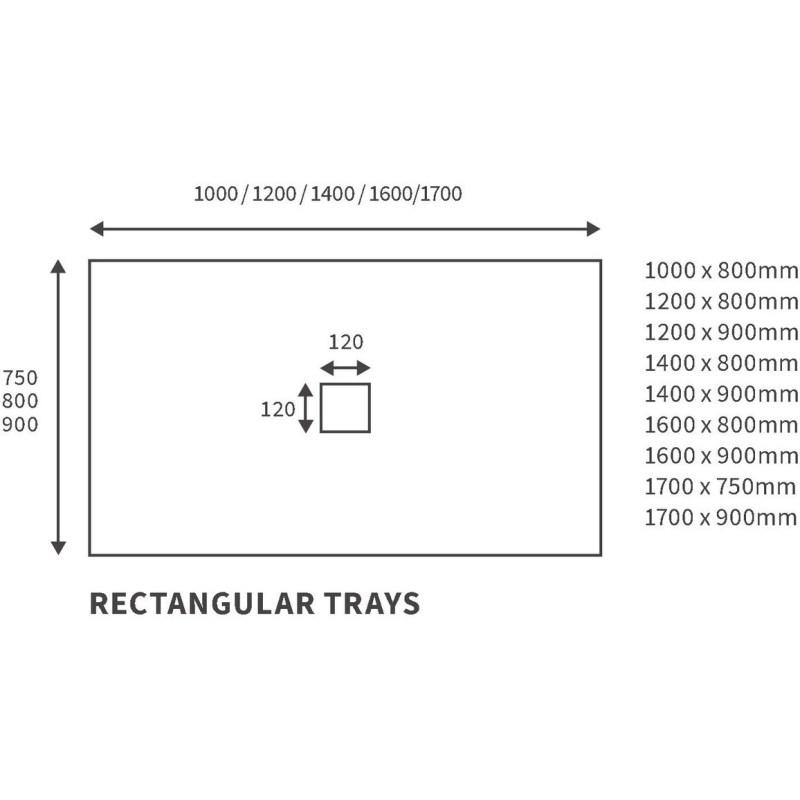 RefleXion 1000x800mm Slate Effect Ultra-Slim Tray & Waste