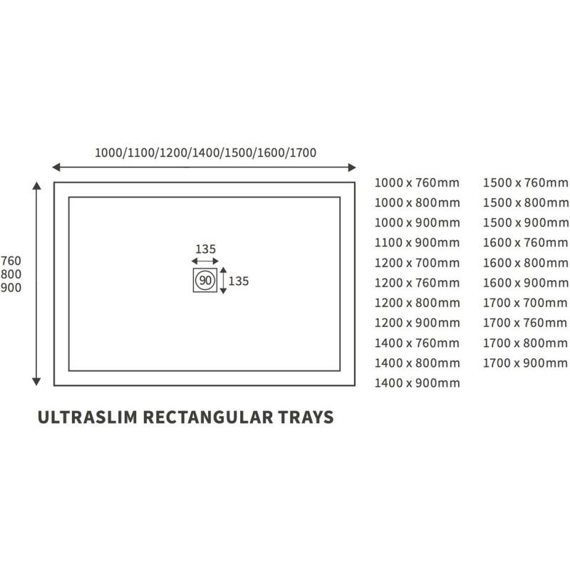 RefleXion 25mm Ultra-Slim 1400mm x 800mm Rectangular Tray & Waste