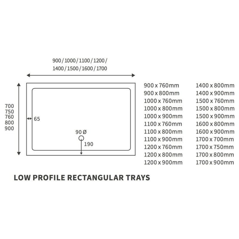 RefleXion Low Profile 1800x800mm Rectanglular Tray & Waste